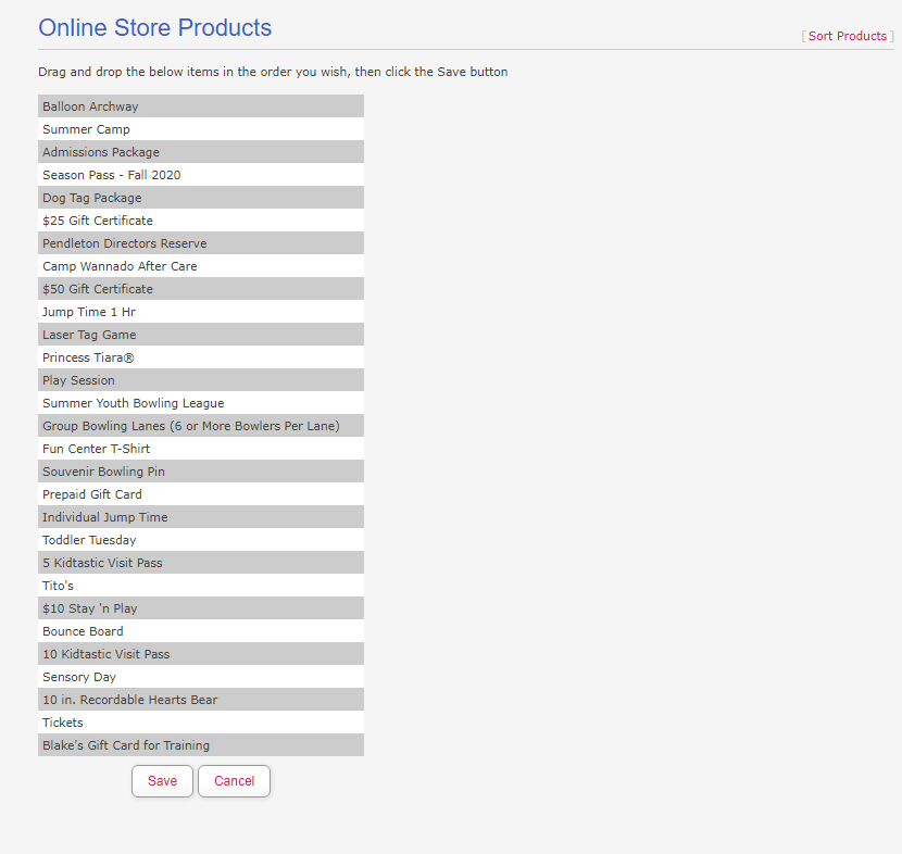 Sorting Online Store Products